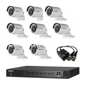 Комплект с 8 цилиндрическими камерами для улицы