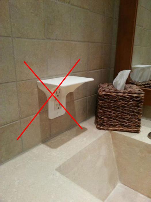 как не стоит устанавливать розетку в ванной
